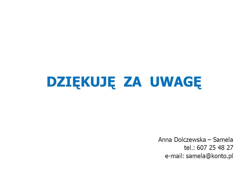 DZIĘKUJĘ ZA UWAGĘ Anna Dolczewska – Samela tel.: 607 25 48 27 e-mail: samela@konto.pl
