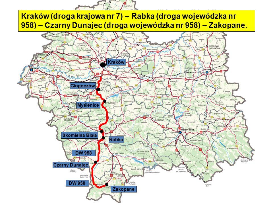 Skomielna Biała Czarny Dunajec Rabka Zakopane Myślenice Głogoczów Kraków DW 958 Kraków (droga krajowa nr 7) – Rabka (droga wojewódzka nr 958) – Czarny
