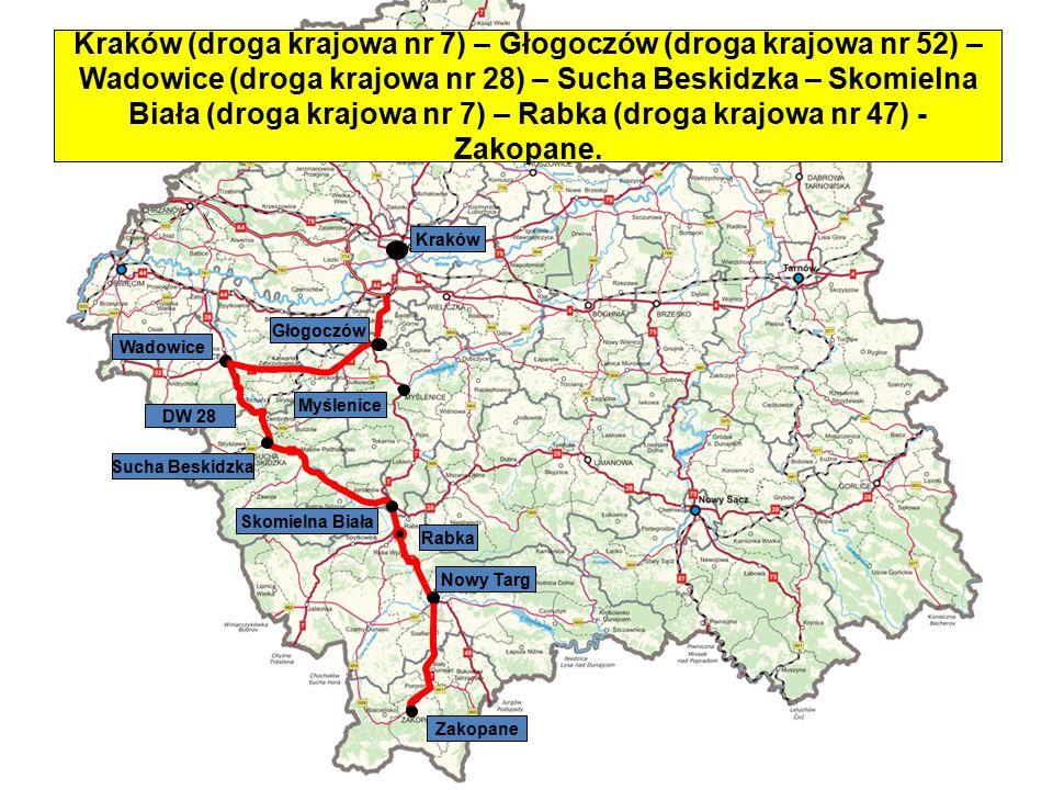 Skomielna Biała Wadowice Nowy Targ DW 28 Rabka Zakopane Myślenice Głogoczów Kraków Kraków (droga krajowa nr 7) – Głogoczów (droga krajowa nr 52) – Wad
