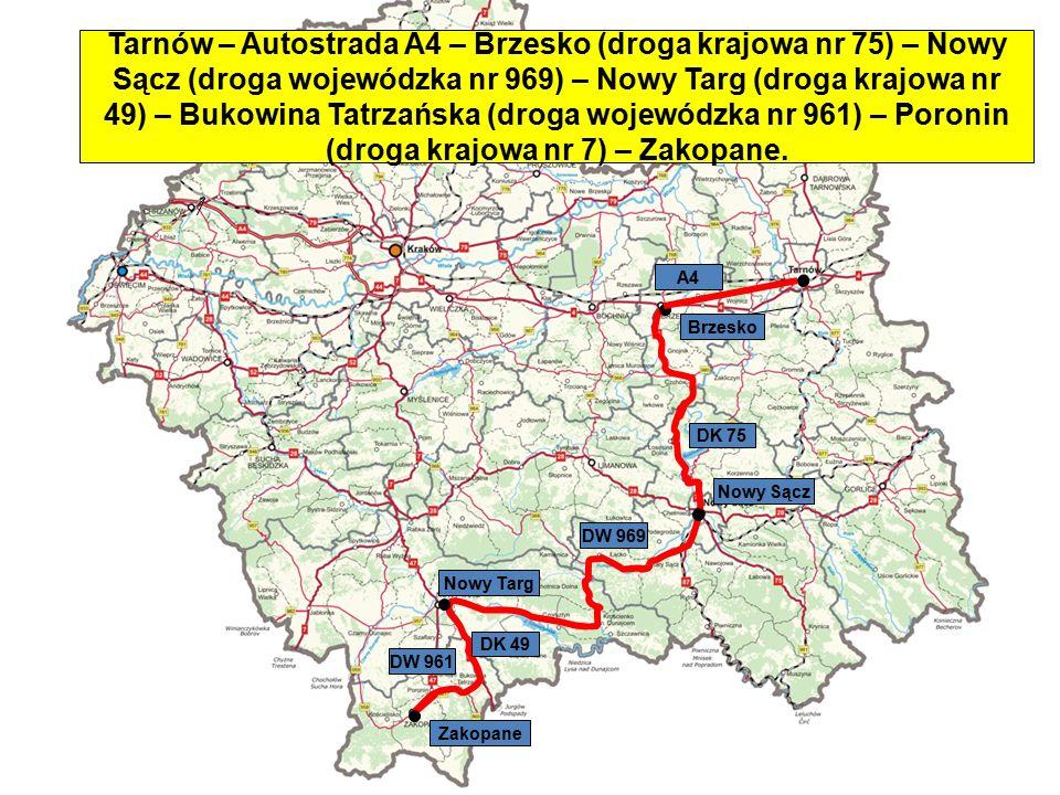 Nowy Targ Zakopane Nowy Sącz Brzesko DK 75 Tarnów – Autostrada A4 – Brzesko (droga krajowa nr 75) – Nowy Sącz (droga wojewódzka nr 969) – Nowy Targ (d