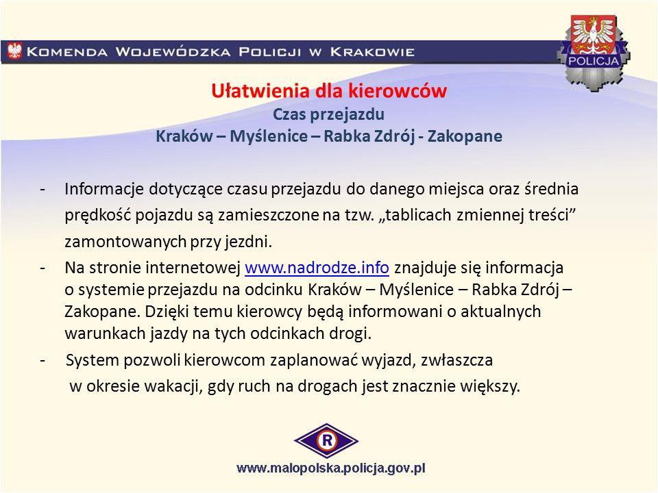 Ułatwienia dla kierowców Czas przejazdu Kraków – Myślenice – Rabka Zdrój - Zakopane -Informacje dotyczące czasu przejazdu do danego miejsca oraz średn