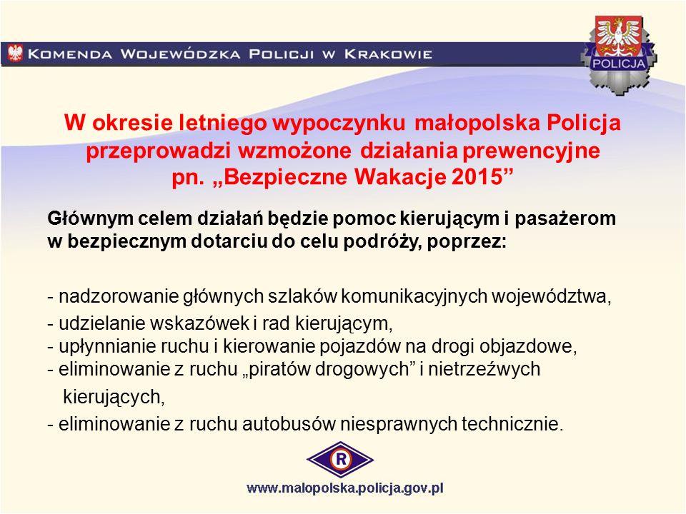 """W okresie letniego wypoczynku małopolska Policja przeprowadzi wzmożone działania prewencyjne pn. """"Bezpieczne Wakacje 2015"""" Głównym celem działań będzi"""