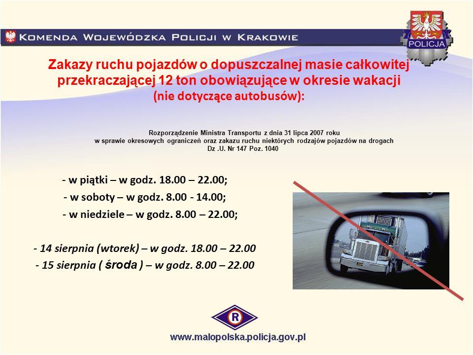 Zakazy ruchu pojazdów o dopuszczalnej masie całkowitej przekraczającej 12 ton obowiązujące w okresie wakacji (nie dotyczące autobusów): - w piątki – w