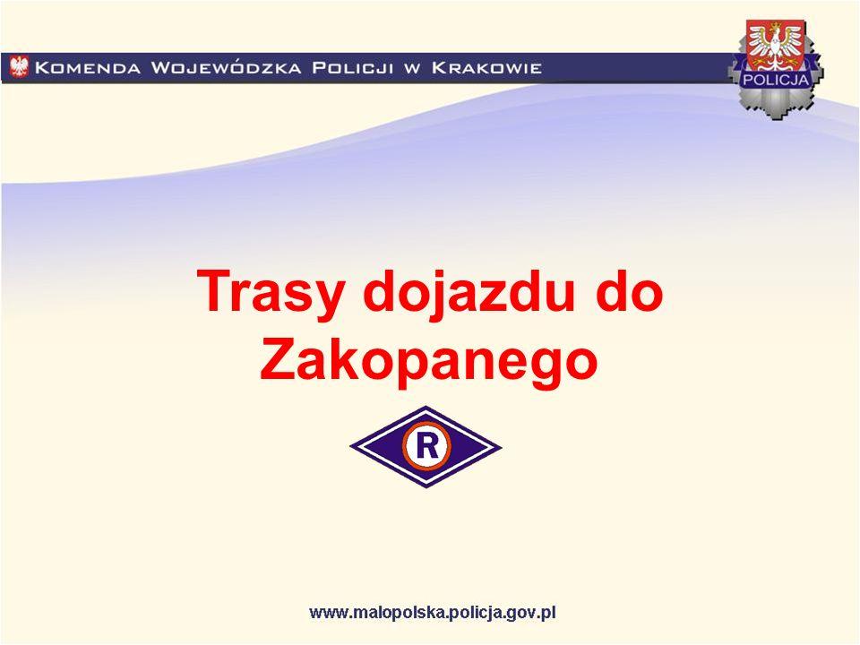 Skomielna Biała Nowy Targ Rabka Zakopane Myślenice Głogoczów Kraków Kraków (droga krajowa nr 7) – Myślenice (droga krajowa nr 7) – Skomielna Biała (droga krajowa nr 7) – Rabka( droga krajowa nr 47) – Nowy Targ –(droga krajowa nr 47) – Zakopane.