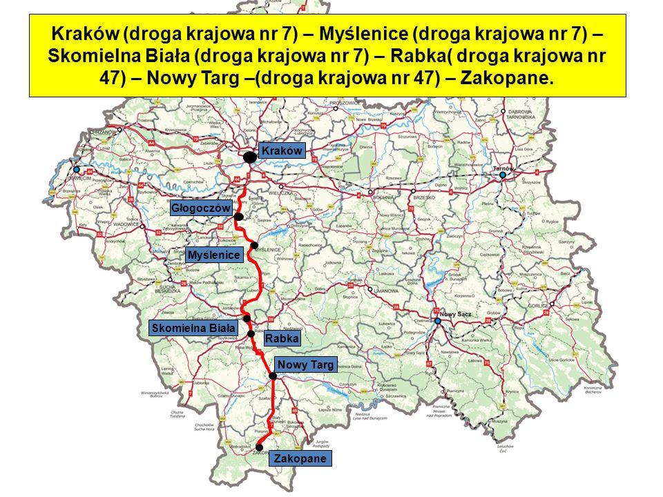 Skomielna Biała DW 958 Czarny Dunajec Jabłonka Rabka Zakopane Myślenice Głogoczów Kraków Kraków (droga krajowa nr 7) – Rabka (droga krajowa nr 7) – Jabłonka (droga wojewódzka nr 957) – Czarny Dunajec (droga wojewódzka nr 958) – Zakopane.