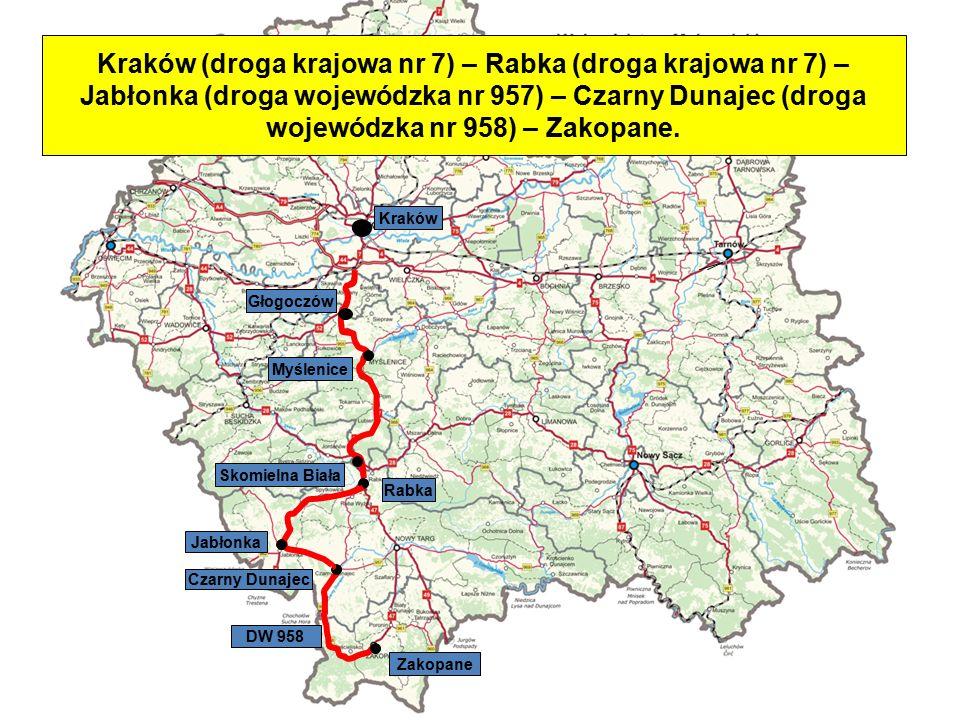 Skomielna Biała DW 958 Czarny Dunajec Jabłonka Rabka Zakopane Myślenice Głogoczów Kraków Kraków (droga krajowa nr 7) – Rabka (droga krajowa nr 7) – Ja