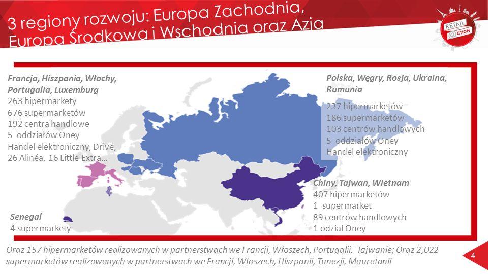 4 3 regiony rozwoju: Europa Zachodnia, Europa Środkowa i Wschodnia oraz Azja Francja, Hiszpania, Włochy, Portugalia, Luxemburg 263 hipermarkety 676 su