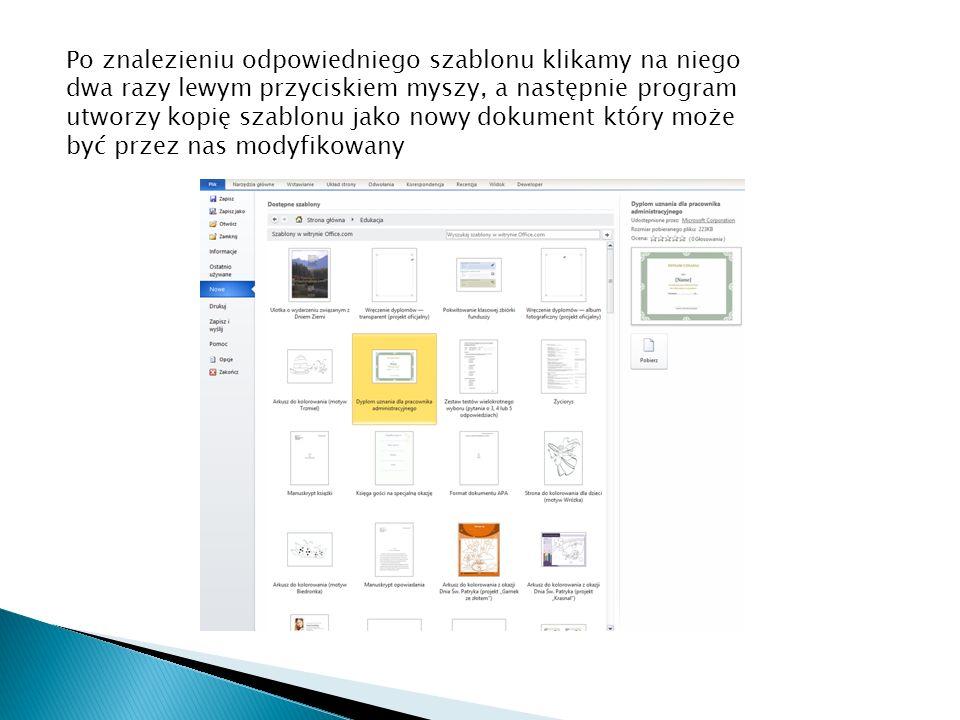 Po znalezieniu odpowiedniego szablonu klikamy na niego dwa razy lewym przyciskiem myszy, a następnie program utworzy kopię szablonu jako nowy dokument