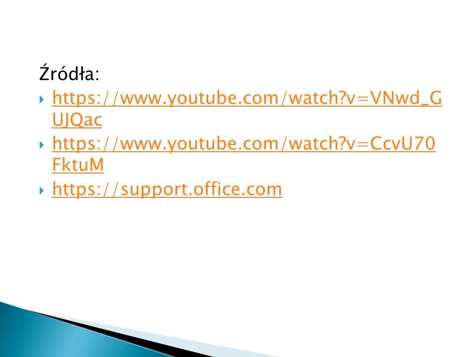 Źródła:  https://www.youtube.com/watch?v=VNwd_G UJQac https://www.youtube.com/watch?v=VNwd_G UJQac  https://www.youtube.com/watch?v=CcvU70 FktuM htt