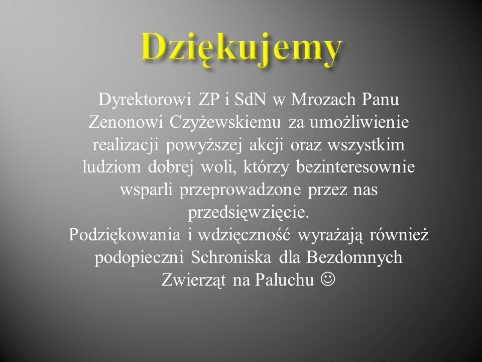 Dyrektorowi ZP i SdN w Mrozach Panu Zenonowi Czyżewskiemu za umożliwienie realizacji powyższej akcji oraz wszystkim ludziom dobrej woli, którzy bezint