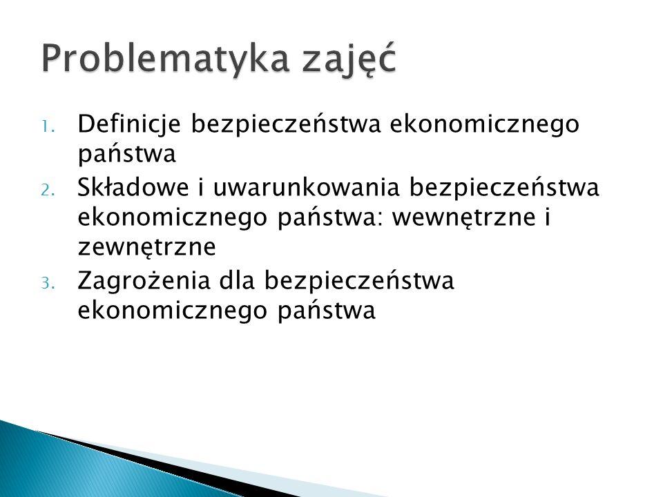 1. Definicje bezpieczeństwa ekonomicznego państwa 2. Składowe i uwarunkowania bezpieczeństwa ekonomicznego państwa: wewnętrzne i zewnętrzne 3. Zagroże