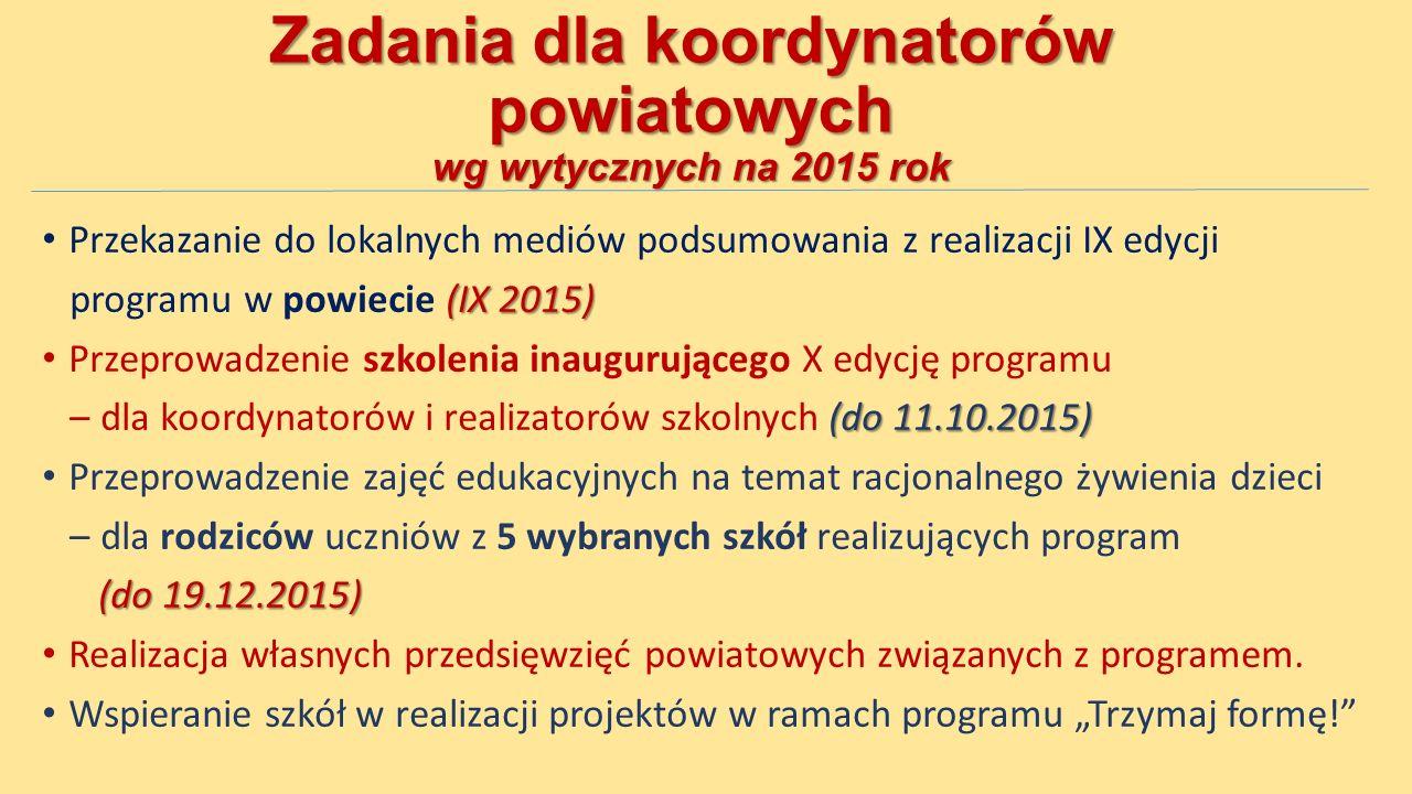 Zadania dla koordynatorów powiatowych wg wytycznych na 2015 rok Przekazanie do lokalnych mediów podsumowania z realizacji IX edycji (IX 2015) programu w powiecie (IX 2015) Przeprowadzenie szkolenia inaugurującego X edycję programu (do 11.10.2015) – dla koordynatorów i realizatorów szkolnych (do 11.10.2015) Przeprowadzenie zajęć edukacyjnych na temat racjonalnego żywienia dzieci – dla rodziców uczniów z 5 wybranych szkół realizujących program (do 19.12.2015) Realizacja własnych przedsięwzięć powiatowych związanych z programem.