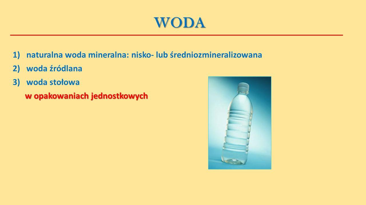 WODA 1) naturalna woda mineralna: nisko- lub średniozmineralizowana 2)woda źródlana 3)woda stołowa w opakowaniach jednostkowych w opakowaniach jednostkowych