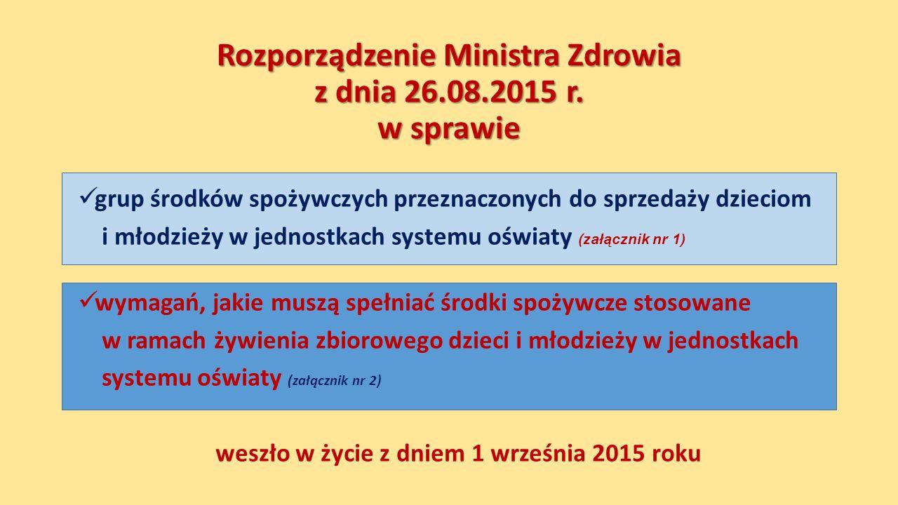 Rozporządzenie Ministra Zdrowia z dnia 26.08.2015 r.