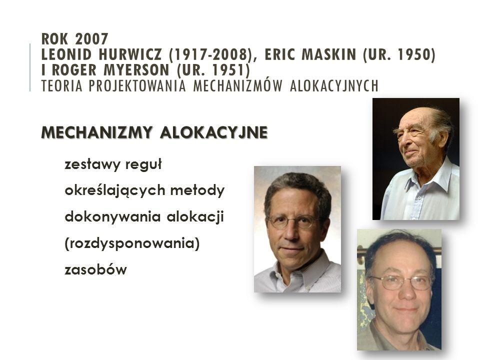 ROK 2007 LEONID HURWICZ (1917-2008), ERIC MASKIN (UR.