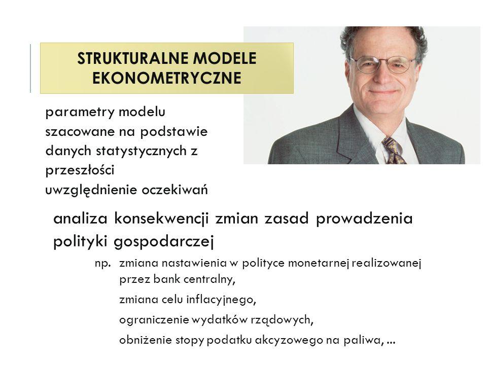 STRUKTURALNE MODELE EKONOMETRYCZNE analiza konsekwencji zmian zasad prowadzenia polityki gospodarczej np.