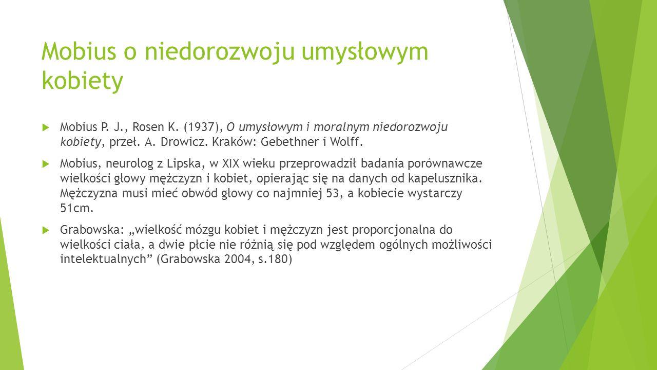 Mobius o niedorozwoju umysłowym kobiety  Mobius P. J., Rosen K. (1937), O umysłowym i moralnym niedorozwoju kobiety, przeł. A. Drowicz. Kraków: Gebet