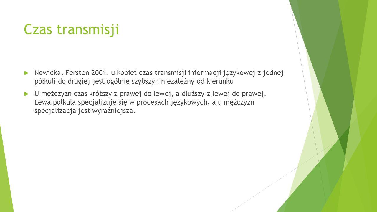 Czas transmisji  Nowicka, Fersten 2001: u kobiet czas transmisji informacji językowej z jednej półkuli do drugiej jest ogólnie szybszy i niezależny o