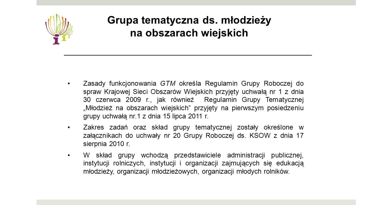 """Zasady funkcjonowania GTM określa Regulamin Grupy Roboczej do spraw Krajowej Sieci Obszarów Wiejskich przyjęty uchwałą nr 1 z dnia 30 czerwca 2009 r., jak również Regulamin Grupy Tematycznej """"Młodzież na obszarach wiejskich przyjęty na pierwszym posiedzeniu grupy uchwałą nr.1 z dnia 15 lipca 2011 r."""