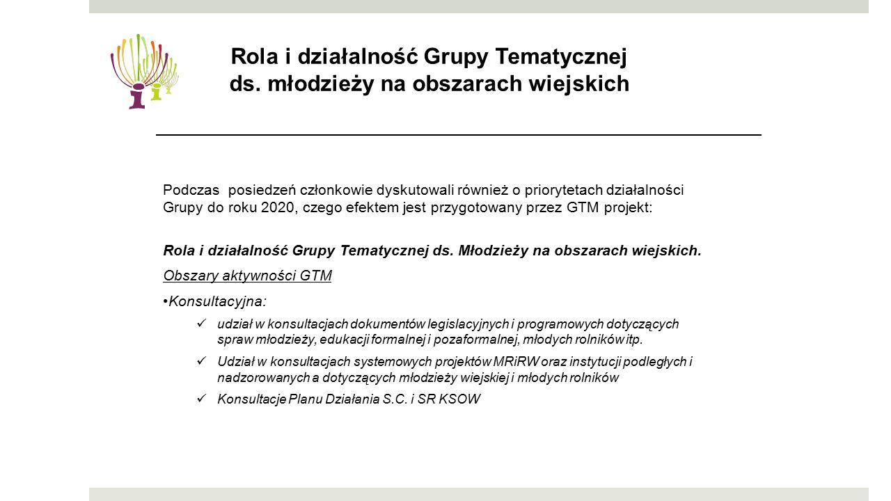Podczas posiedzeń członkowie dyskutowali również o priorytetach działalności Grupy do roku 2020, czego efektem jest przygotowany przez GTM projekt: Rola i działalność Grupy Tematycznej ds.