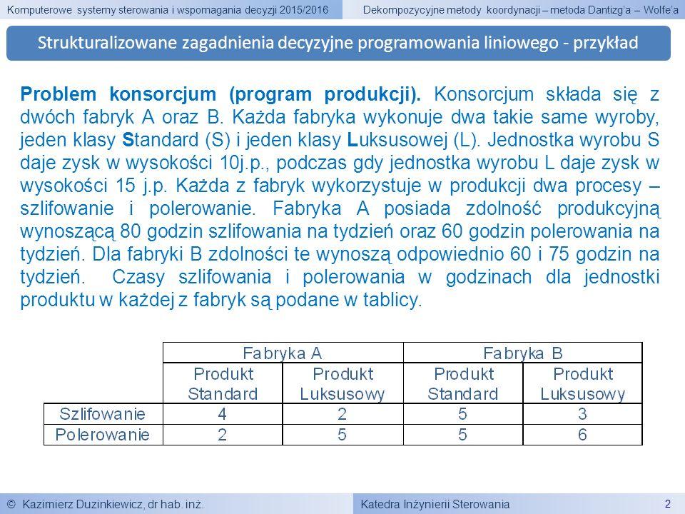 Katedra Inżynierii Sterowania Komputerowe systemy sterowania i wspomagania decyzji 2015/2016 © Kazimierz Duzinkiewicz, dr hab. inż. 2 Dekompozycyjne m