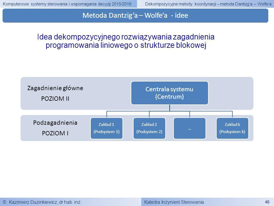 Katedra Inżynierii Sterowania Komputerowe systemy sterowania i wspomagania decyzji 2015/2016 © Kazimierz Duzinkiewicz, dr hab. inż. 48 Dekompozycyjne