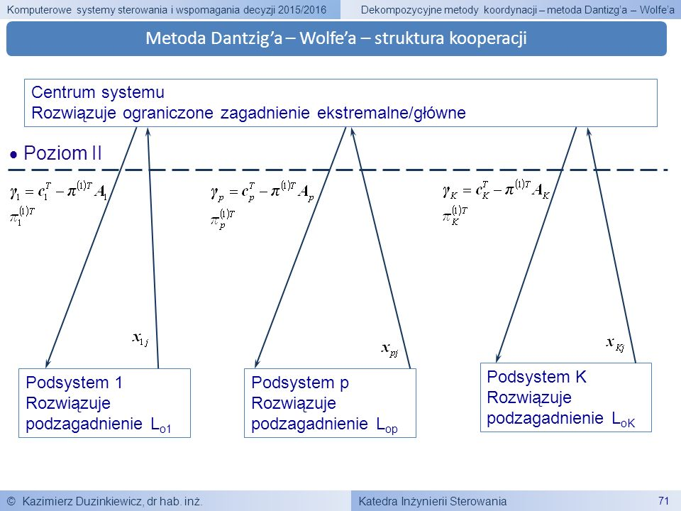 Katedra Inżynierii Sterowania Komputerowe systemy sterowania i wspomagania decyzji 2015/2016 © Kazimierz Duzinkiewicz, dr hab. inż. 71 Dekompozycyjne