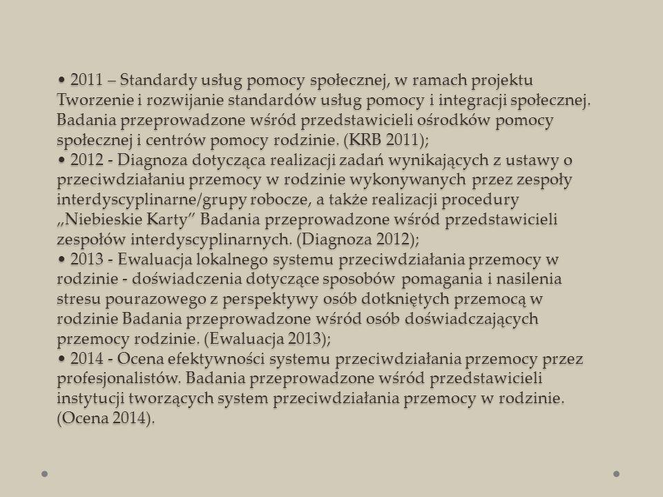 2011 – Standardy usług pomocy społecznej, w ramach projektu Tworzenie i rozwijanie standardów usług pomocy i integracji społecznej.