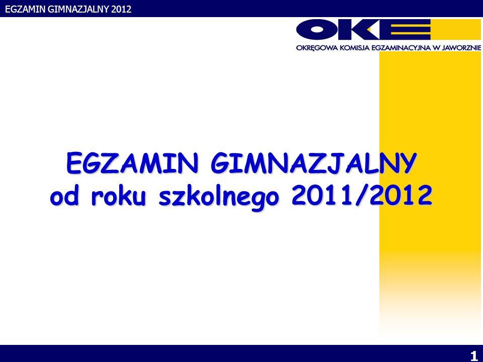 EGZAMIN GIMNAZJALNY 2012 2 KIERUNKI ROZWOJU SYSTEMU EGZAMINÓW ZEWNĘTRZNYCH - Plany na lata 2012 i 2015
