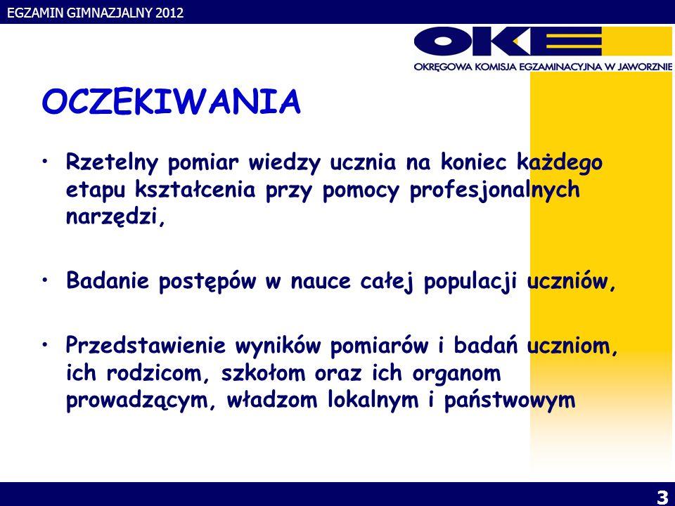 EGZAMIN GIMNAZJALNY 2012 4 BADANIE POSTĘPÓW W NAUCE TRZYKROTNY POMIAR: na zakończenie szkoły podstawowej, gimnazjum, liceum i technikum DZIEDZINY POMIARU: język polski – zadania zamknięte + wypowiedź pisemna na zadany temat, matematyka – zadania zamknięte + zadania wymagające przedstawienia toku rozumowania, język obcy nowożytny – zadania zamknięte + krótka wypowiedź pisemna.