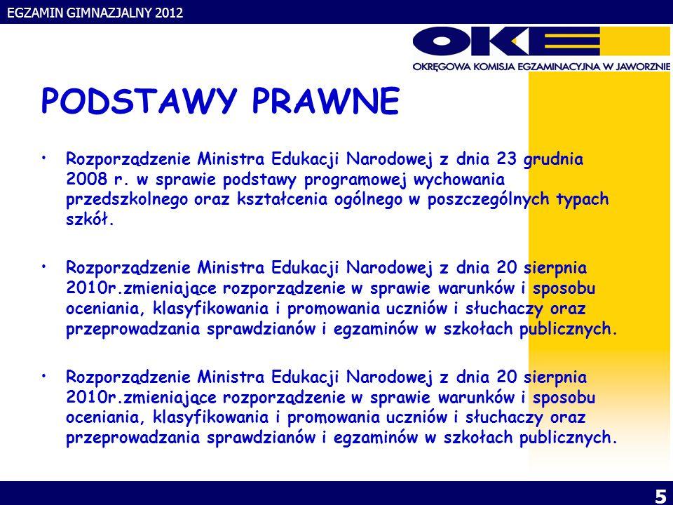 EGZAMIN GIMNAZJALNY 2012 5 PODSTAWY PRAWNE Rozporządzenie Ministra Edukacji Narodowej z dnia 23 grudnia 2008 r.