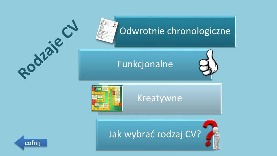 Rodzaje CV Odwrotnie chronologiczne Funkcjonalne Kreatywne Jak wybrać rodzaj CV cofnij