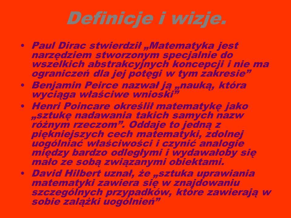"""Definicje i wizje. Paul Dirac stwierdził """"Matematyka jest narzędziem stworzonym specjalnie do wszelkich abstrakcyjnych koncepcji i nie ma ograniczeń d"""