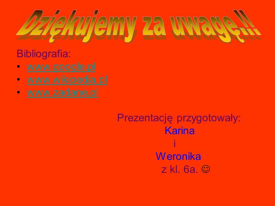 Bibliografia: www.google.pl www.wikipedia.pl www.zadane.pl Prezentację przygotowały: Karina i Weronika z kl. 6a.