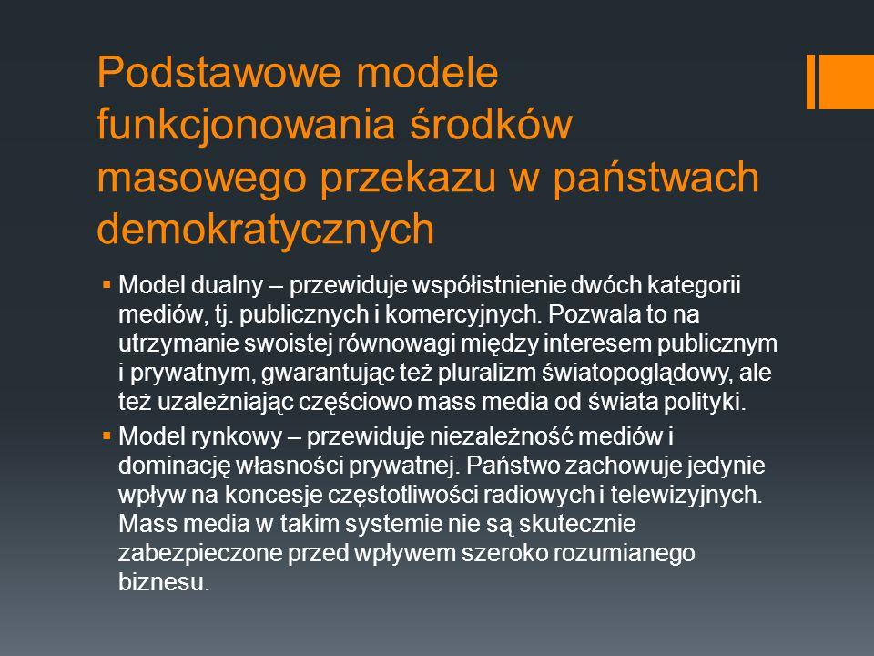 Podstawowe modele funkcjonowania środków masowego przekazu w państwach demokratycznych  Model dualny – przewiduje współistnienie dwóch kategorii mediów, tj.