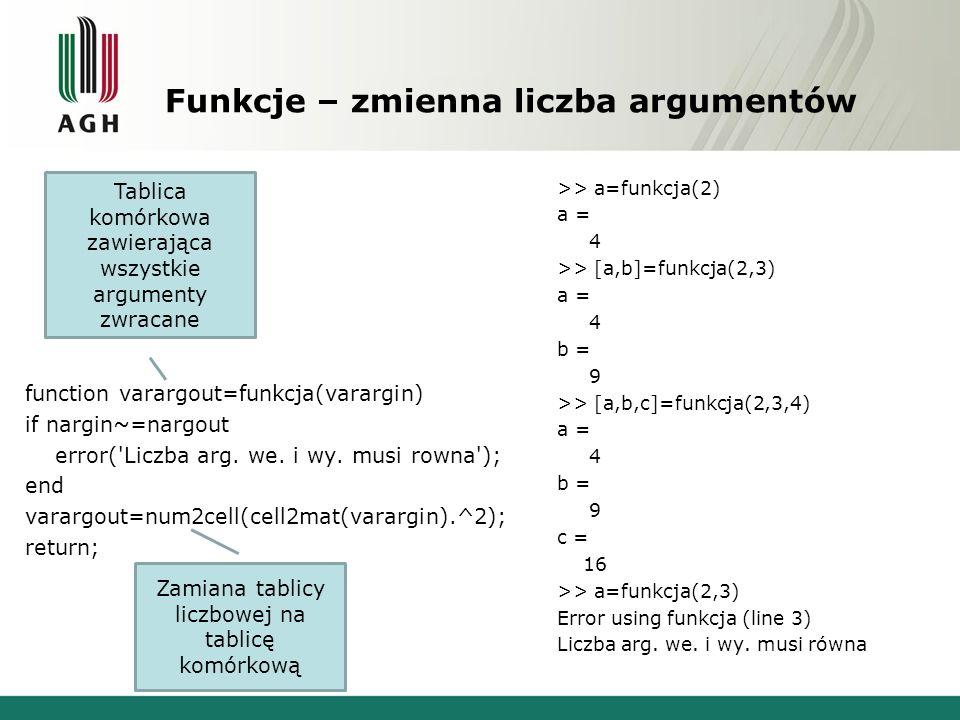 Funkcje – zmienna liczba argumentów function varargout=funkcja(varargin) if nargin~=nargout error( Liczba arg.