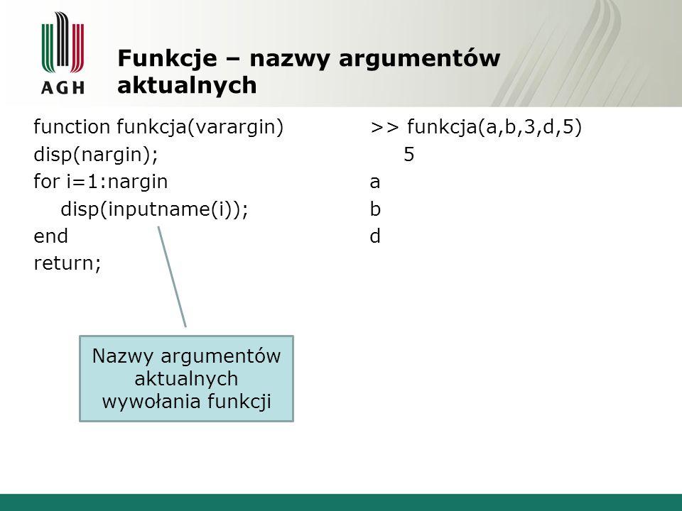 Funkcje – nazwy argumentów aktualnych function funkcja(varargin) disp(nargin); for i=1:nargin disp(inputname(i)); end return; >> funkcja(a,b,3,d,5) 5 a b d Nazwy argumentów aktualnych wywołania funkcji
