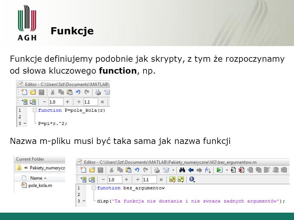 Funkcje zagnieżdżone function a=fun_glob(b) c=fun_lok(b); d=fun_zag(c); a=c+d; function e=fun_zag(f) disp(b); e=f+1; end function g=fun_lok(h) disp(b); g=h+2; end OK BŁĄD