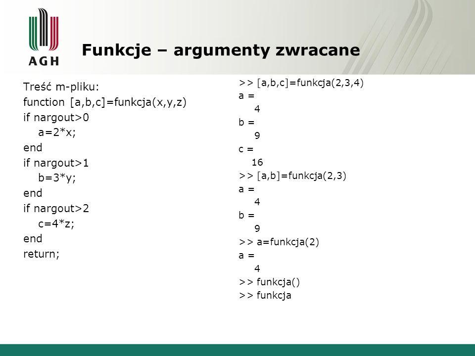 Funkcje – argumenty aktualne function [a,b,c]=funkcja(x,y,z) if nargin>0 a=2*x; else a=NaN; end if nargin>1 b=3*y; else b=NaN; end if nargin>2 c=4*z; else c=NaN; end return; >> [a,b,c]=funkcja(2,3) a = 4 b = 9 c = NaN >> [a,b,c]=funkcja(2) a = 4 b = NaN c = NaN >> [a,b,c]=funkcja a = NaN b = NaN c = NaN Liczba argumentów aktualnych