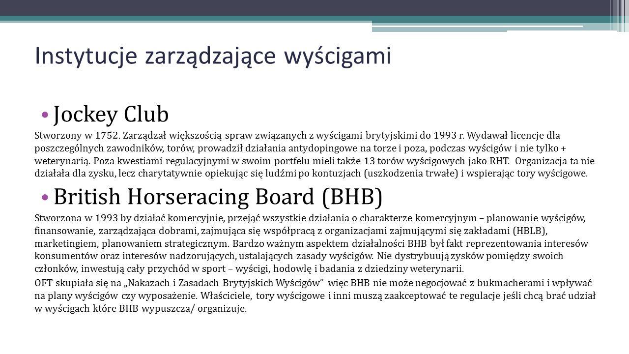 Instytucje zarządzające wyścigami Jockey Club Stworzony w 1752. Zarządzał większością spraw związanych z wyścigami brytyjskimi do 1993 r. Wydawał lice
