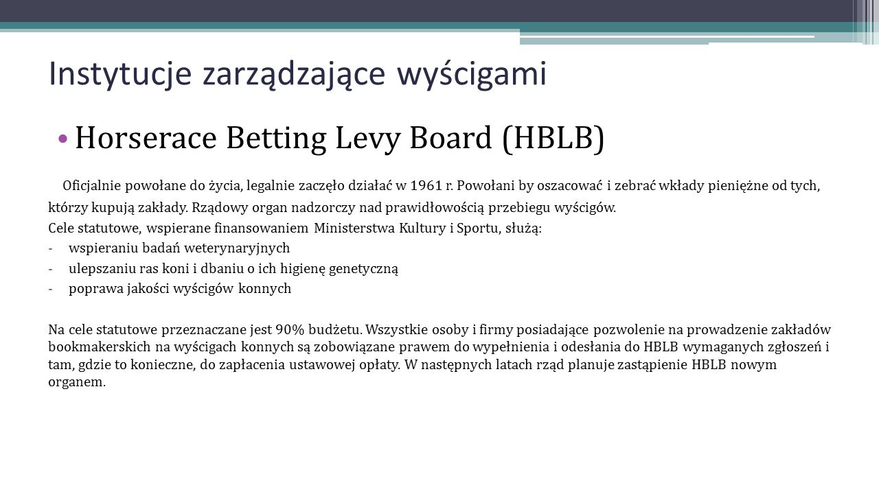Instytucje zarządzające wyścigami Horserace Betting Levy Board (HBLB) Oficjalnie powołane do życia, legalnie zaczęło działać w 1961 r. Powołani by osz