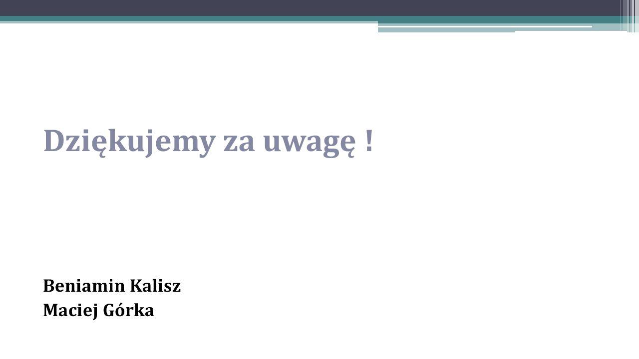 Dziękujemy za uwagę ! Beniamin Kalisz Maciej Górka