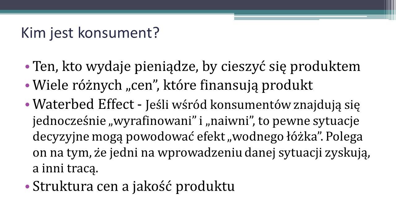 """Kim jest konsument? Ten, kto wydaje pieniądze, by cieszyć się produktem Wiele różnych """"cen"""", które finansują produkt Waterbed Effect - Jeśli wśród"""