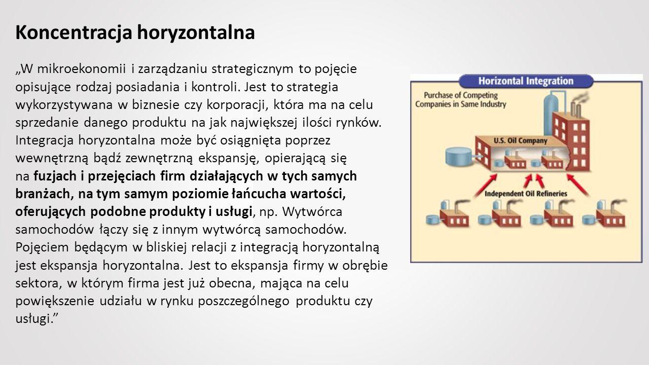 """Koncentracja horyzontalna """"W mikroekonomii i zarządzaniu strategicznym to pojęcie opisujące rodzaj posiadania i kontroli."""