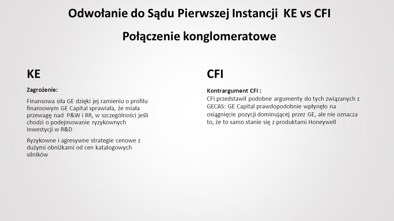 Odwołanie do Sądu Pierwszej Instancji KE vs CFI Połączenie konglomeratowe Zagrożenie: Finansowa siła GE dzięki jej ramieniu o profilu finansowym GE Capital sprawiała, że miała przewagę nad P&W i RR, w szczególności jeśli chodzi o podejmowanie ryzykownych inwestycji w R&D Ryzykowne i agresywne strategie cenowe z dużymi obniżkami od cen katalogowych silników Kontrargument CFI : CFI przedstawił podobne argumenty do tych związanych z GECAS: GE Capital prawdopodobnie wpłynęło na osiągnięcie pozycji dominującej przez GE, ale nie oznacza to, że to samo stanie się z produktami Honeywell KE CFI