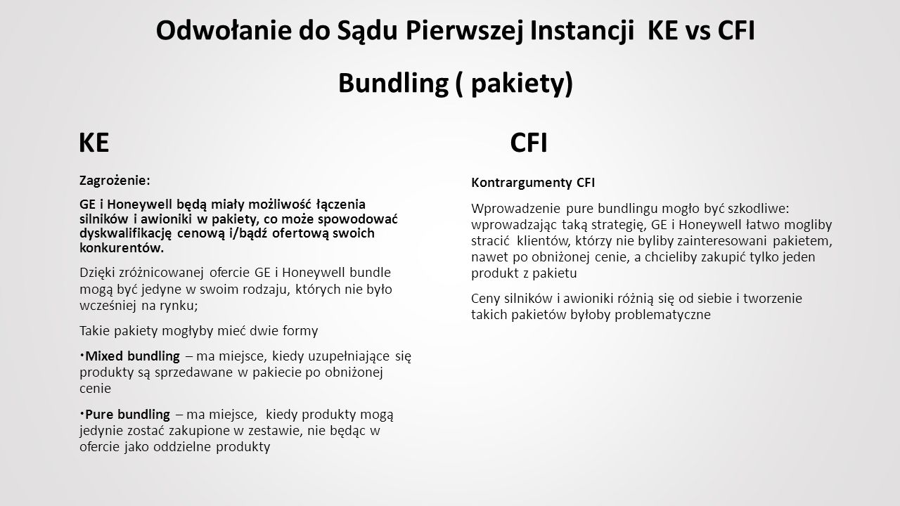 Odwołanie do Sądu Pierwszej Instancji KE vs CFI Bundling ( pakiety) Zagrożenie: GE i Honeywell będą miały możliwość łączenia silników i awioniki w pakiety, co może spowodować dyskwalifikację cenową i/bądź ofertową swoich konkurentów.