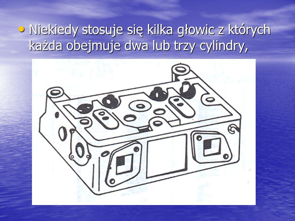 Niekiedy stosuje się kilka głowic z których każda obejmuje dwa lub trzy cylindry, Niekiedy stosuje się kilka głowic z których każda obejmuje dwa lub t