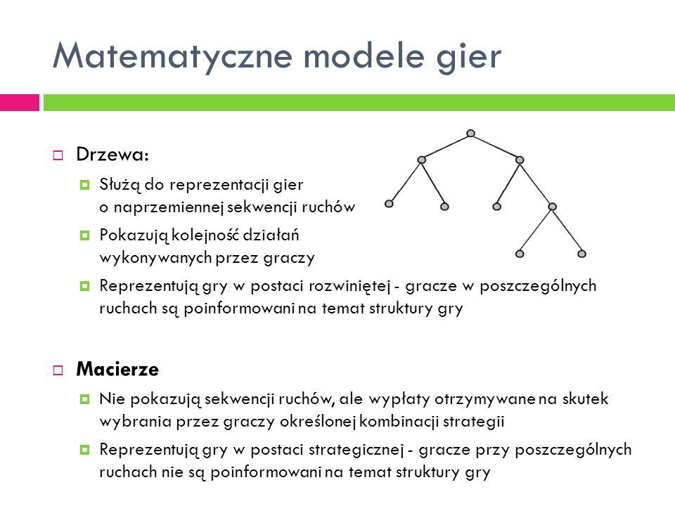 Matematyczne modele gier  Drzewa:  Służą do reprezentacji gier o naprzemiennej sekwencji ruchów  Pokazują kolejność działań wykonywanych przez graczy  Reprezentują gry w postaci rozwiniętej - gracze w poszczególnych ruchach są poinformowani na temat struktury gry  Macierze  Nie pokazują sekwencji ruchów, ale wypłaty otrzymywane na skutek wybrania przez graczy określonej kombinacji strategii  Reprezentują gry w postaci strategicznej - gracze przy poszczególnych ruchach nie są poinformowani na temat struktury gry