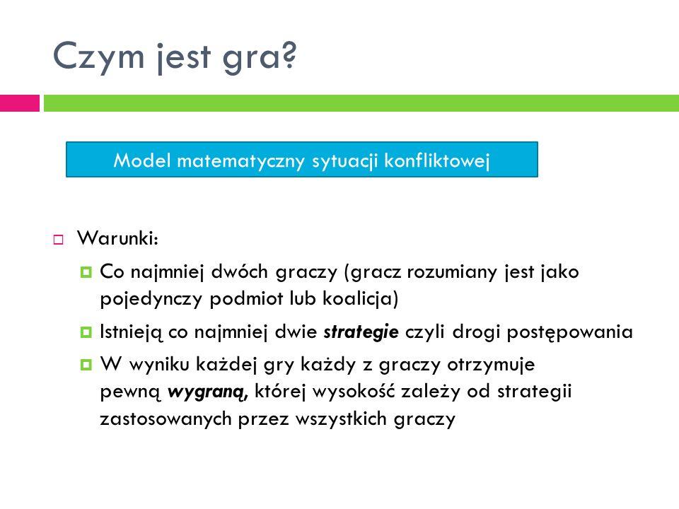 Klasyfikacja gier Szopa M. 2010. Teoria gier w negocjacjach i podejmowaniu decyzji