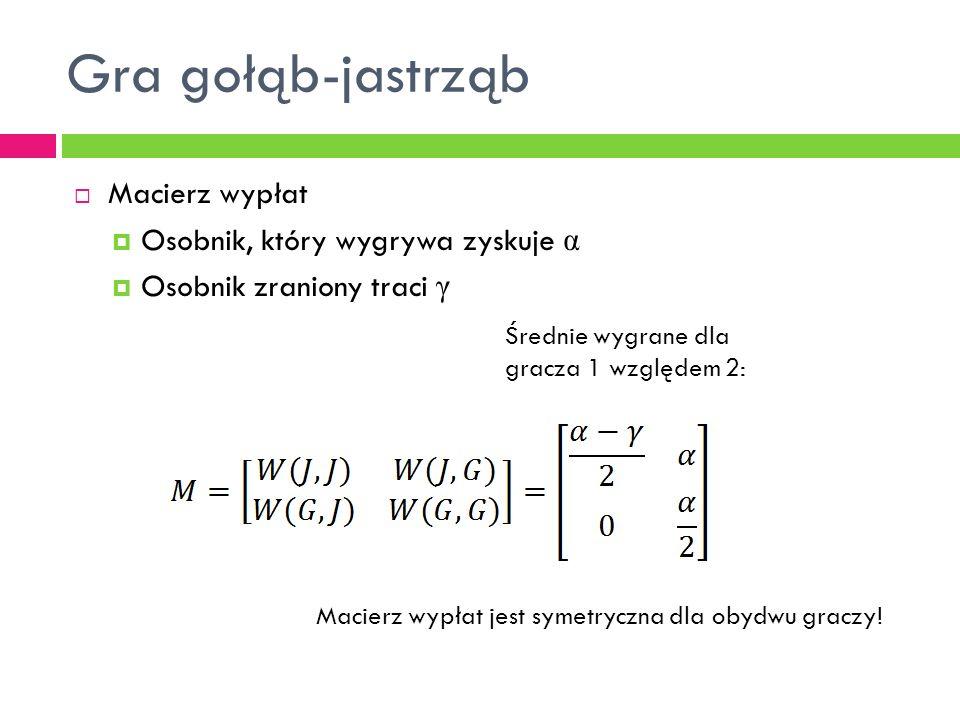 Gra gołąb-jastrząb  Macierz wypłat  Osobnik, który wygrywa zyskuje α  Osobnik zraniony traci γ Średnie wygrane dla gracza 1 względem 2: Macierz wypłat jest symetryczna dla obydwu graczy!